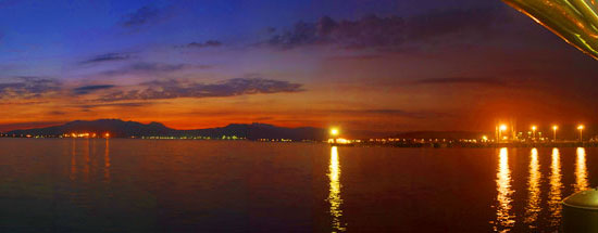 sunset view of Subic Bay from Vasco's Bar and Grill Resto